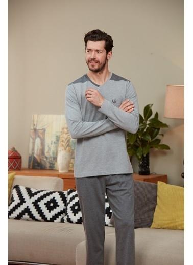 Eros V Yaka Uzun Kollu Pijama Takımı Gri